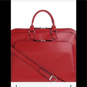 LODIS new red leather briefcase bag